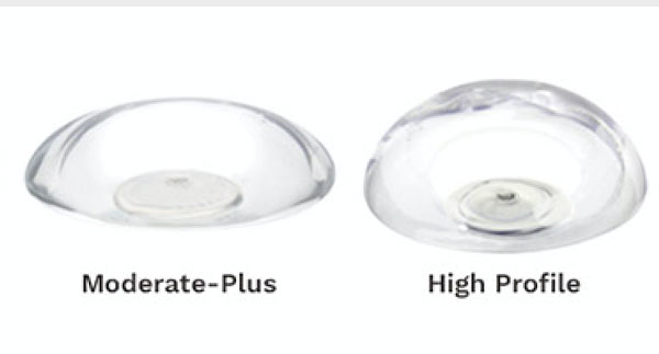 Moderate and high profile breast implants Courtesy of Johnson and Johnson
