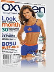 Oxygen Magazine Cover w/ brunette girl wearing blue bra and spandex shorts