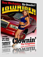 Lowrider Magazine Cover w/ blonde model in denim outfit by red pimp car