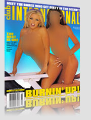 Club International Magazine Cover w/ nude brunette and blonde models burnin' up