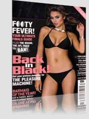 Ralph Magazine Cover with brunette model in black bikini
