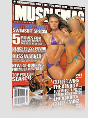 Musclemag Swimsuit Special Magazine Cover w/ model in small purple bikini