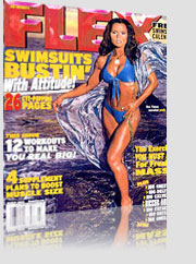 Flex Magazine Cover Swimsuits Bustin w/ Attitude - model w/ blue bikini