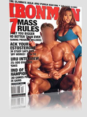ironman 7 Mass Rules Magazine Cover - huge body builder guy w/ girl in turqouise workout attire