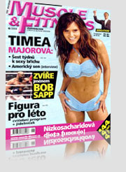 Muscle & Fitness Timea Majorova Magazine Cover wearing blue bikini in water