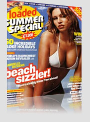 Loaded Summer Special Magazine Cover w/ model in white bikini and seductive lips