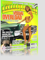 Lowrider Visual Overload Magazine Cover w/ model in short yellow skirt next to green race car
