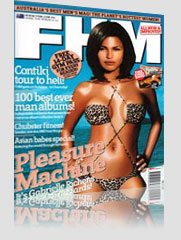 FHM Magazine Cover - Pleasure Machine w/ model in ocean wearing leopard print bikini