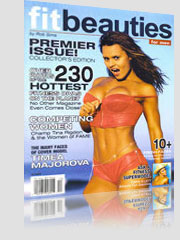Fit Beauties Magazine Cover hot brunette unzipping red lingerie top