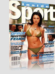 Inside Sport Magazine Cover w/ black hair model in small camo bikini