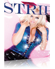 Strip Las Vegas model wearing tight latex top showing cleavage