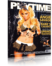 Angie Savage Playtime Magazine Cover - blonde hair, leopard print, short skirt