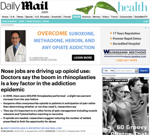 Daily Mail Article: Nose Jobs Driving up Opioid Use